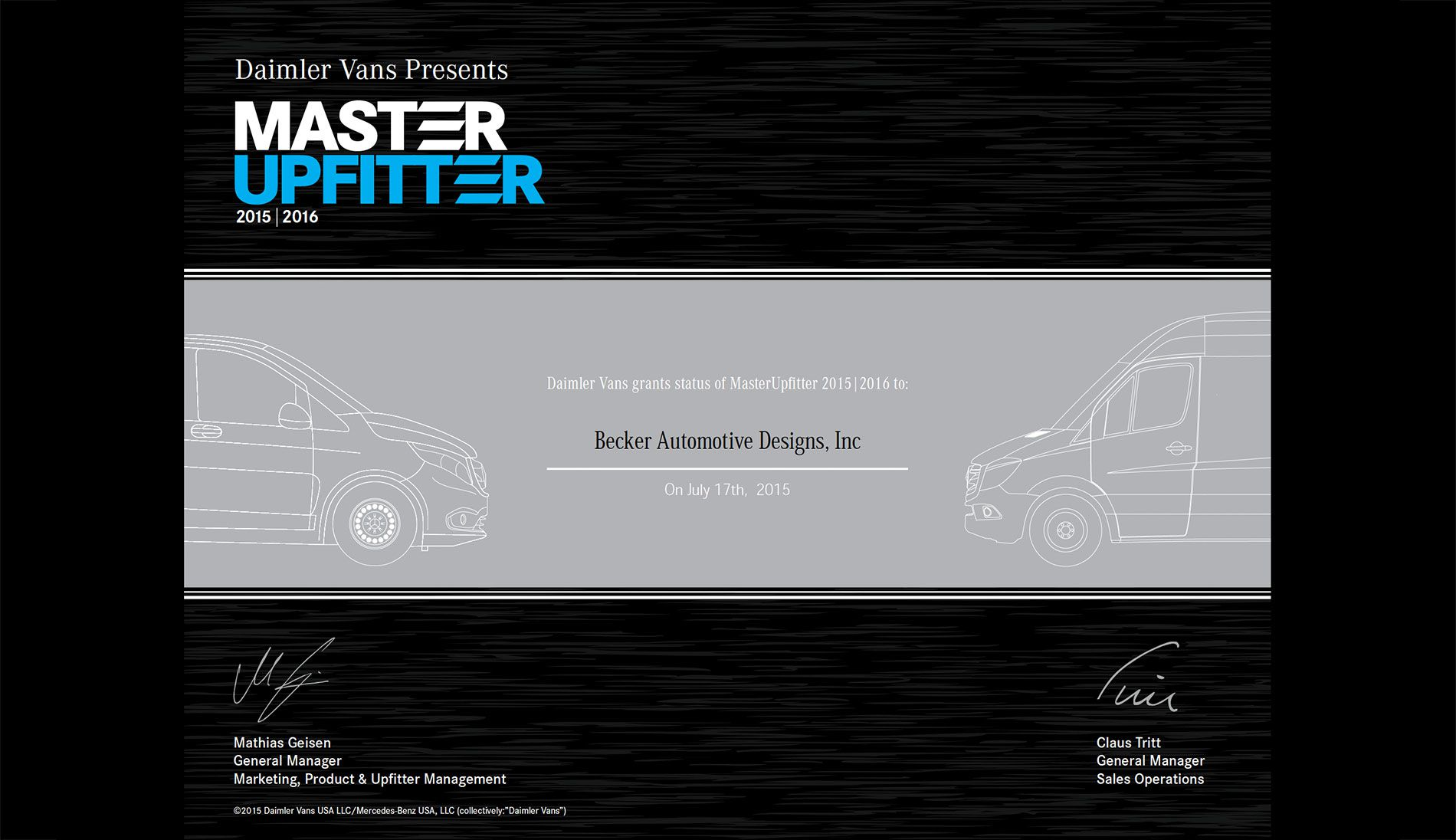 becker automotive design luxury transport coaches sprinter vanapproved master upfitter of mercedes benz manufactured sprinter vans the master upfitter designation is awarded by daimler to the select few firms who