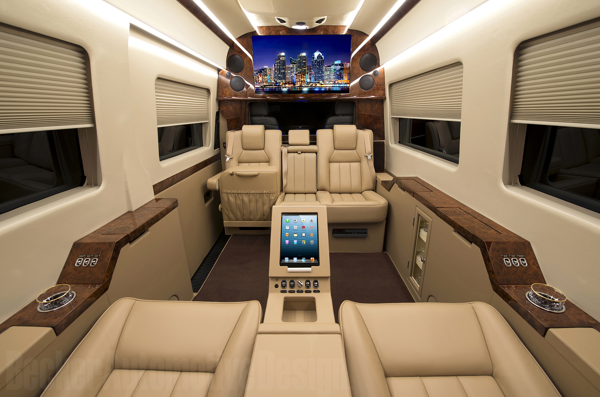 becker automotive design      luxury transport coaches      sprinter van and cadillac esv conversions